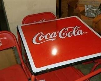 Coca Cola Top card table and 4 chairs