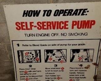 Old metal sign Instructions how to use self serve pump