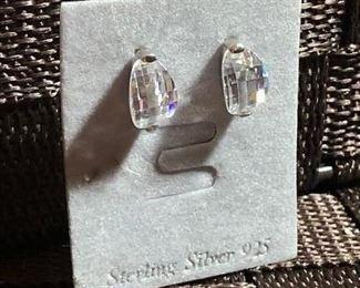 $7 Sterling silver crystal stone earrings
