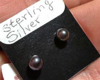 $15 Sterling silver natural pearl earrings Color enhanced