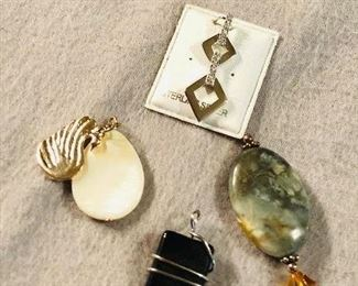 Lot #5 - $15 lot of 4 sterling and stone pendants - shipping available (bundle lots and let's make a deal!)