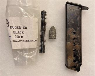Ruger gun spring $8, civil war bullet 3 ring $12, gun magazine clip for 38 $15.