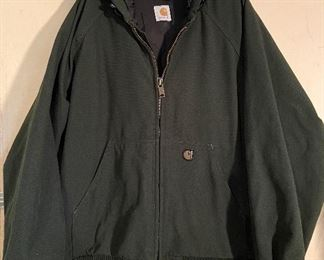 Carhartt Men's Duck Thermal Lined Green Hooded Coat, good condition, zipper works, size Medium - $45