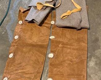 Rendezvous Mountain Man Leather & Wool Leggins $20