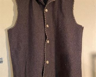 Rendezvous Mountain Man wool vest with bone buttons $25 (Large)