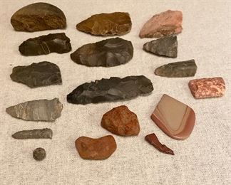 Indian Artifacts - Broken arrowheads, scrapers, points, tools, lead ball. $25