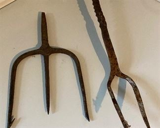 Fishing spear & fire pit fork $20