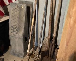 Car ramps $10, old garden tools $2