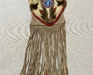Rendezvous Mountain Man Badger Head Beaded Pouch $45
