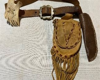 Elk skin pouch, beaver knife sheath on leather belt with buckle and horn bone $50