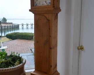 """$100 Grandfather Clock  Pine Wood.  Battery Operated. ...See all pictures showing the back. 16 1/2""""W x 9 1/2""""D x 80""""H"""