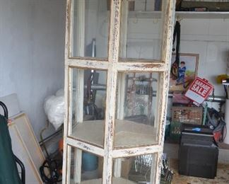"$400 Antique Wood Shabby Chic Curio  Octagon All around Glass panels Country Farmhouse  27""Wide (all 6 glass panel measure 16""Wide)  Top 6 sides of Crown each measures 18 1/2"" Wide  78 1/2""Height"