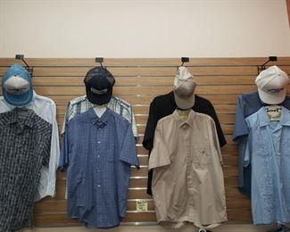 Men's Medium Shirts-$4 each Caps-$3-$4 each