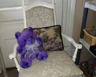 Super cute chair some damaged at the top-$25 Pillow-$3 Bear-$3