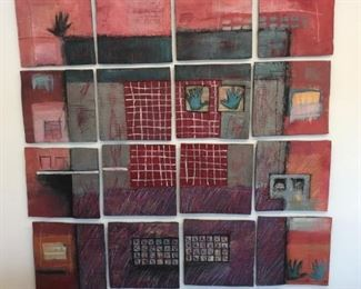 """Artist Connie Lloveras. Grid composing of sixteen, 12"""" ceramic tiles signed and dated. Originally $22,000 sale price $4,500. You can space the tiles as big or small as you like. Unbelievable work of art!"""