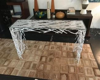 Aktura Strand Glass with Lazer cut steel console table. Originally $3640, sale price $950. Work of ART!