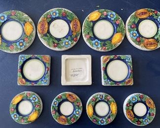 Item #6:   11 pc. Italian Ceramic Candle Plates - 3 Sizes              $22