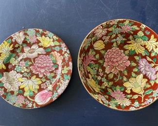 Item #10:  2 pc.  Brown Flowered  Plate & Bowl          $22