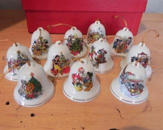 Set of 1987 collectible Disney Christmas bells