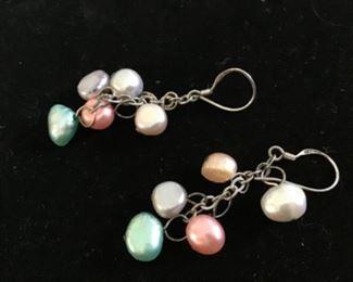 Delicate Sterling silver stamped 925  pearl earrings $20