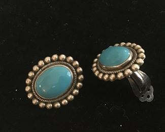 Sterling silver and turquoise clip on earrings $20