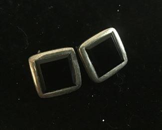 Sterling silver and black onyx stone pierced earrings $20