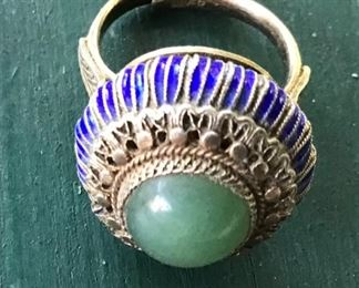 Silver, inlaid and beautiful center stone in this antique ring $20