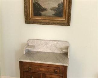 Antique Marble Top Commode  - Walnut & Burl- 1900'