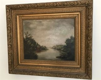 """Vintage ORIGINAL oil painting by Harold Bell Wright - Harold Bell Wright is best known for writing """"The Shepherd of the Hills"""". Painted for Ray and John Taylor from Pierce City, MO and handed down to Harold Taylor (who was named after Mr. Wright) when he grew up."""