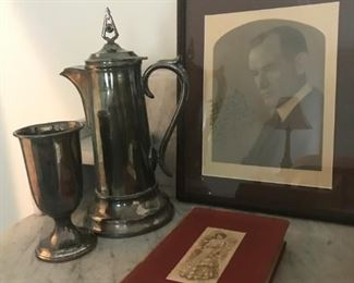 """First edition books written by Harold Bell Wright. """"Shepherd of the Hills,"""" was autographed in 1907.  The Communion Pitcher and cup were used in the Forest Avenue Christian Church in Pierce City, MO where Harold Bell Wright  was Minister"""