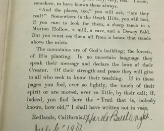 """Autographed first edition of """"Shepherd of the Hills,"""" 1907."""