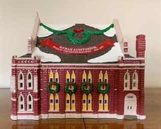$12 - Department 56 Snow Villages - Ryman Auditorium, small missing piece on roof, (comes with its box)