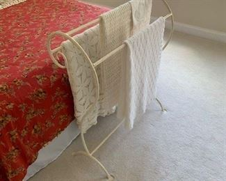 Painted White Metal Quilt Rack $40
