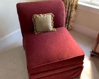 Pair of Merlot Upholstered Rolled Back Slipper Chairs $185PR