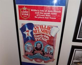 RARE Willie Nelson Picnic 1979 poster....Lone Star Beer....Leon Russell....Ernest Tubb