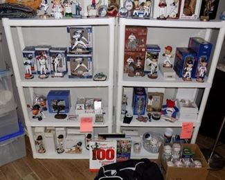 Baseball Collectibles:  Bobble Heads, Figurines, Gloves, Balls, Gym Bag, Books, Cards
