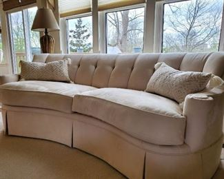 Immaculate condition classy ivory suede Thomasville sofa.  $1,200 or best offer.
