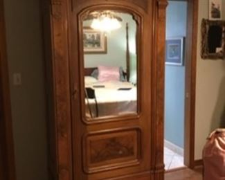 "2. 19th century Eastlake Armoire (MB) mirror front 		  87""Hx 40""W x 20.5""D           $475"