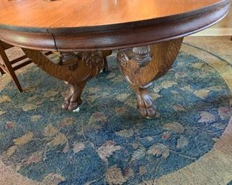 "WOW! MAGNIFICENT  SOLID TIGER OAK DINING TABLE  WITH TWO TWELVE INCH LEAVES ~ DIMENSIONS  5FT WITH LEAVES 7FT X 30 1/2HT ~( 27"" from floor to bottom of skirt / seat clearance ($850 (REDUCED -$675)"