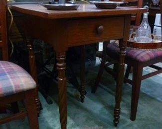 Note the spiral twist legs, which are the prime attraction of this antique American cherry work table, with drawers, now reduced to $140