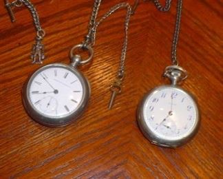 E.N.W. CO. POCKET WATCHES WITH CHAINS