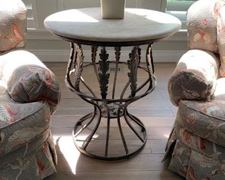 Beautiful side table with natural stone top, heavy base with leaf detailing. (More images avail)  26 inches in diameter, approx. 30 inches high. $400.00