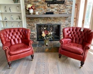 Pair of Barrel back leather chairs. Prices for all available in future pictures.