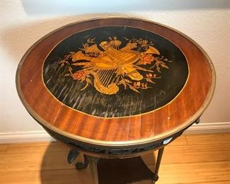 "$450 -- 19th Century side table with Bronze Bird Mounts.  Height 29"", Diameter 16"""