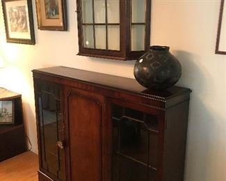 "$125 -- Mahogany side cabinet (as is).  Curio wall cabinet $65,  29"" x 24""  (2 more available).  $45 Native American black pot (as is)"