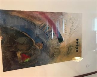 $75 -- Mixed media artwork under glass, signed Dex