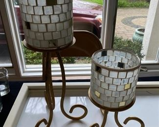 "Lot 5 - $15.00 Set of 2 Pillar Gold Tone Candle Holders with Mosaic Shades Unbranded  11"" and 5.5"" Candle Holder with 4.5"" Shades"