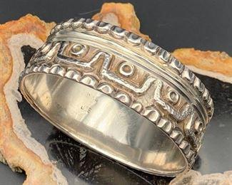 1. $500 - Vintage Mexico Sterling Silver Statement Bangle Bracelet 3-Dimensional Design