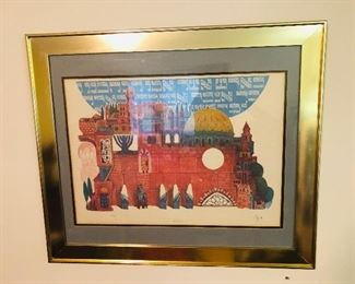 $295 - Amran Ebgi The Temple Handcolored Etching , 88x950, 24x28
