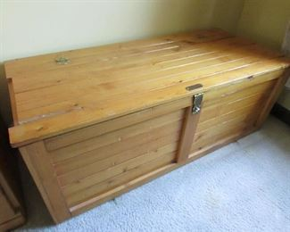 "Pine blanket chest, as-is top--see additional photo. Great to re-purpose! 40""w X 15""h X 18""d. PRICE: $35.00 (as-is)."